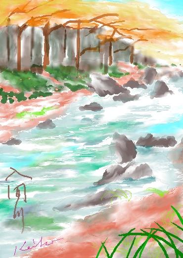 入間川の水彩画