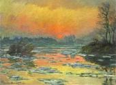 モネ セーヌ河の日没