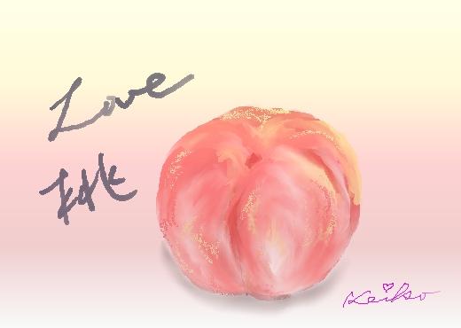 桃の水彩画