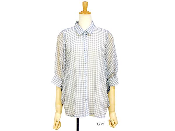 play g check shirt ヘルシーな色味のギンガムチェックを使用したシンプルで使い易い7分丈のドルマンスリーブシャツ