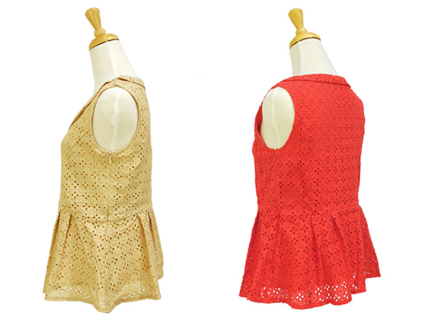 cutwork lace top ペプラムトップス
