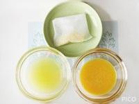 レモンの皮の黄色い部分をすりおろし、お茶パックなどに入れる。レモンを絞ってこす。卵は割りほぐしてこす。