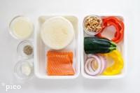 「サーモンとカラフル野菜のごちそうマフィン」の材料