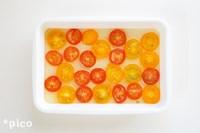 トマトは薄くスライスして、キッチンペーパーなどで水気をとる。トマトにはちみつ大さじ1とレモン果汁をなじませて、しばらく置いておく。