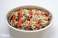 耐熱皿に牛カルビとトマトを交互に並べ、☆を混ぜ合わせたパン粉をかける。トースターで焼き色をつけたら出来上がり♪