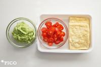 アボカドはフープロなどでペースト状にして、★の材料で味つけする。ミニトマトはスライスする。油揚げはお湯をさっとかけて、半分に切る。
