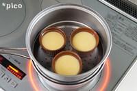 ココットなどに生地を7分目ほど入れて、蒸し器で約10分蒸したら出来上がり♪
