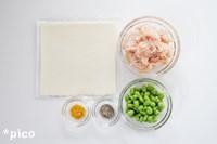 「鶏ひき肉と枝豆のスティック春巻き」の材料