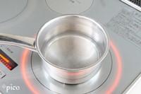 小鍋に水と砂糖を入れて熱し、砂糖が溶けたら粉ゼラチン5gを加えてかき混ぜる。さらにレモン果汁も加えて混ぜる。