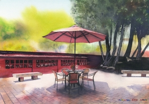 Chikanlou Watercolor Tainan 赤崁樓の水彩画 台南