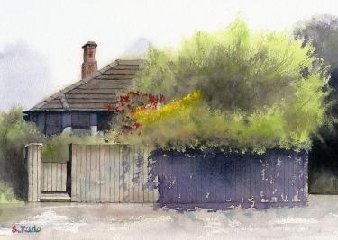 水彩画 デボンポートの家 ニュージーランド