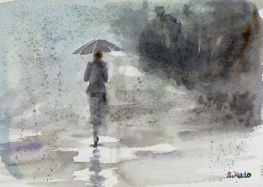 Rainy day / watercolor 雨の日 / 水彩