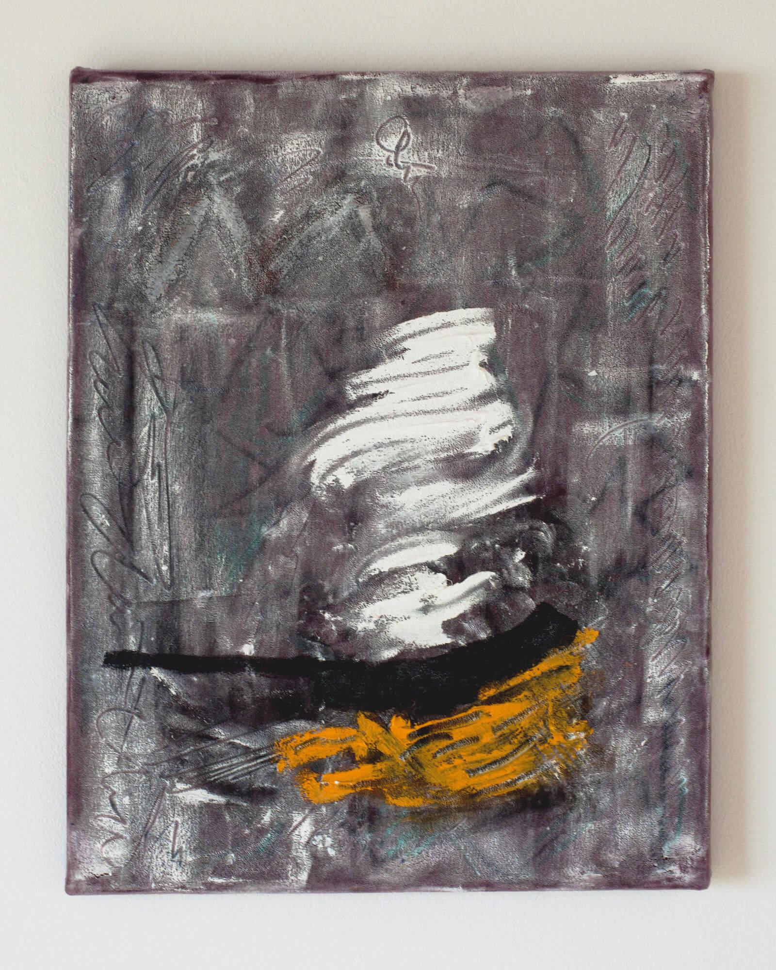 Fry Pan, 2017, oil paint on velevt.jpg