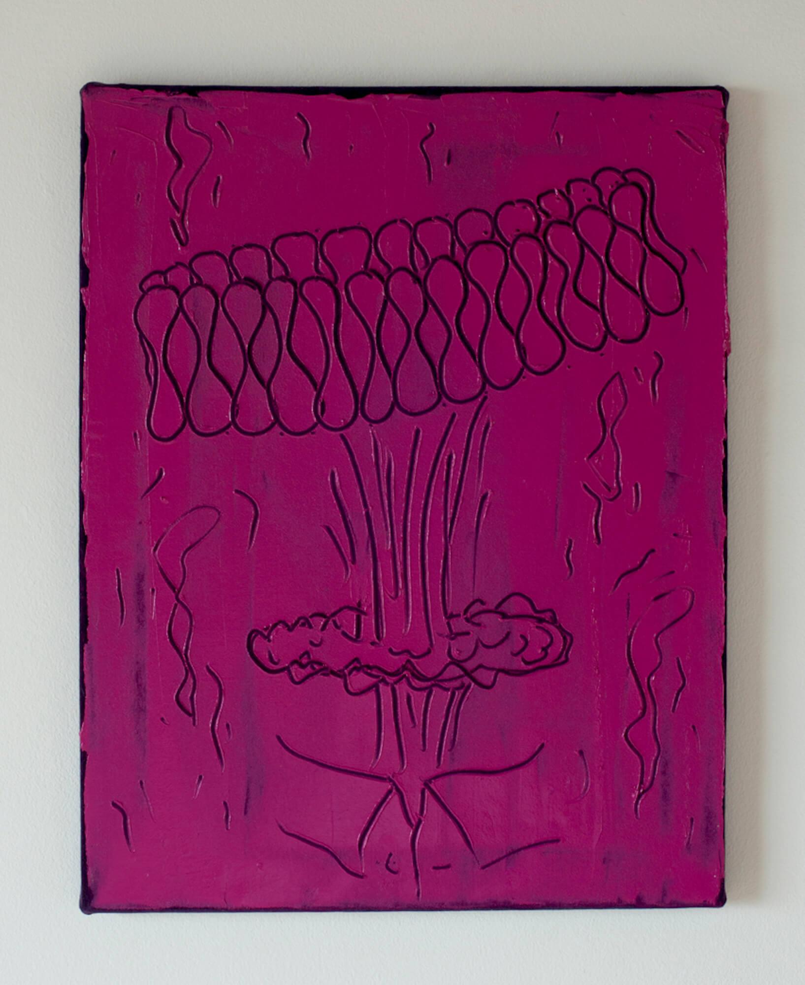 Ruffle Bomb, oil paint on purple velvet.jpg