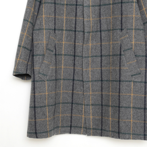 living concept check wool coat gray check リビングコンセプト正規