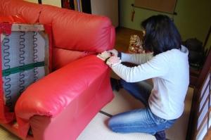 ソファーの肘掛の修理