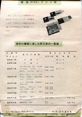 福助ミシン取扱説明書 布・針・糸の適合表