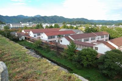 天守台から見える小学校