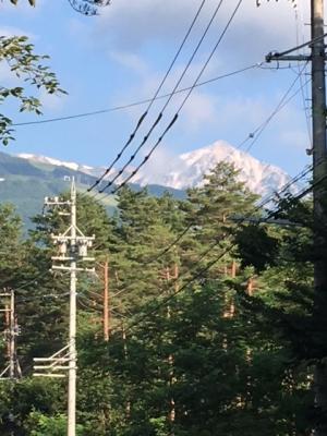 雪山が見える