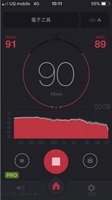 発動機運転会の騒音数値