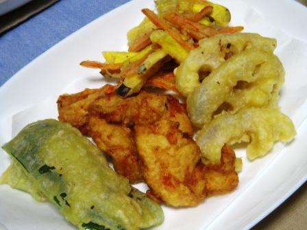 鶏と野菜の天ぷら