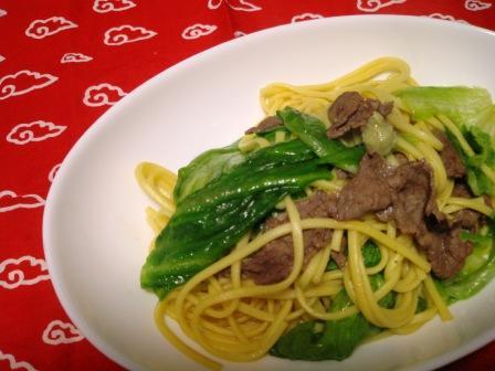 牛肉とレタスのわさび風味パスタ