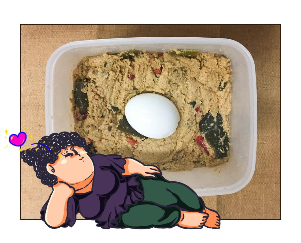 ぬか床に入れたゆで卵
