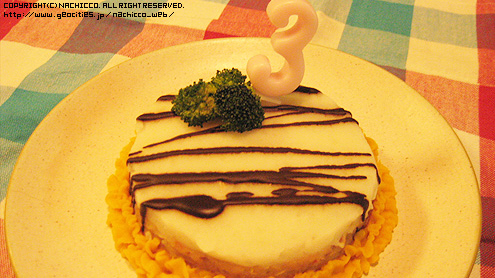 nachicco,ボストンテリア,ケーキ,誕生日