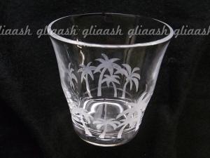 ヤシの木ガラス彫りカップ