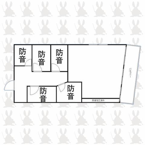 防音室5部屋・高田馬場事業用 間取り