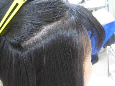 前髪の縮毛矯正仕上がり