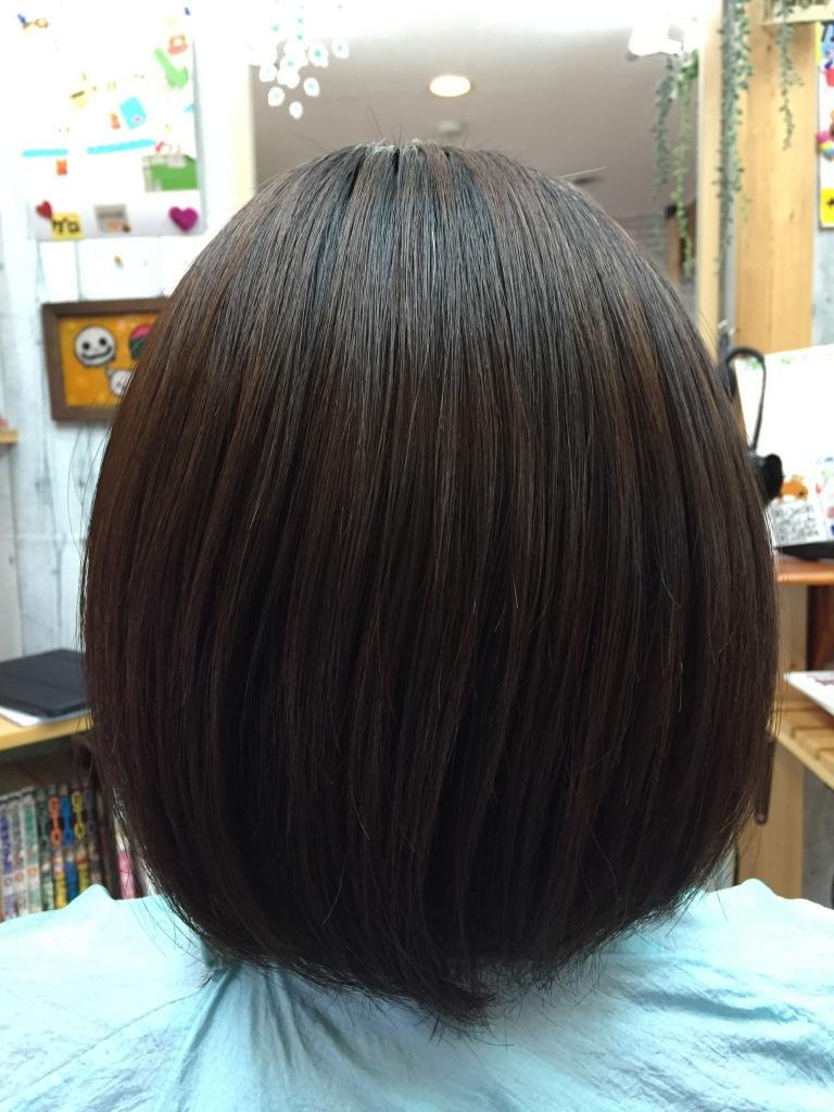 自然なストレートヘア 縮毛矯正 西大寺 美容室