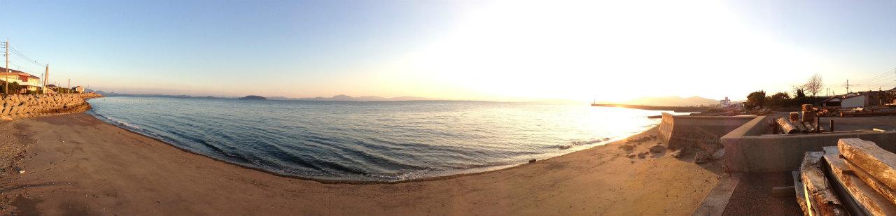 有明海と湯島、天草の夕暮れパノラマ