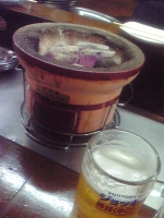 七輪とビール
