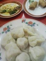 春巻き、水餃子、豆腐干ときゅうり炒め