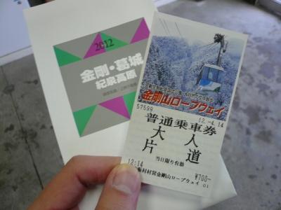 金剛山ロープウェイチケット