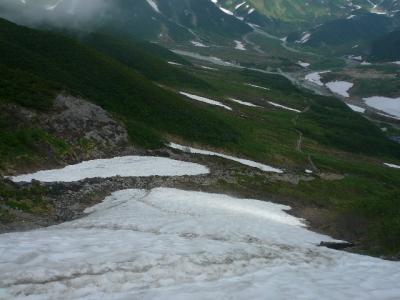 奥大日岳 雪渓木道歩き