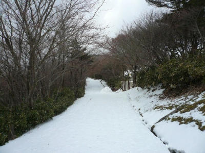御在所山頂へと続き雪道