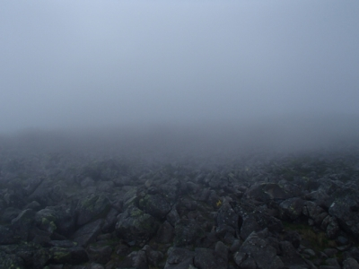 ガスの蓼科山山頂