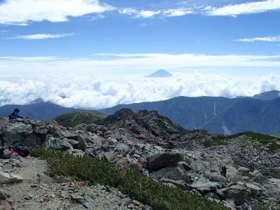 悪沢岳山頂からの富士山
