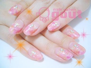 五反田 ネイル nail salo gout  ネイルサロン ジェル フレンチ タイダイ マーブル ピンク