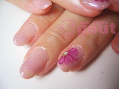 五反田 ネイル nail salon gout  ジェル パープル グラデーション お花アート