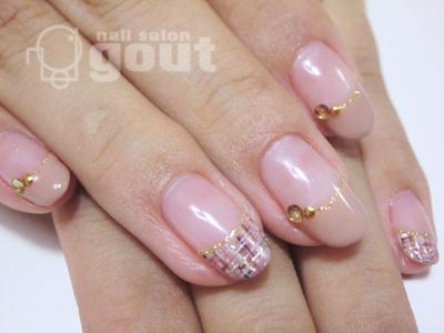 五反田 ジェル nail salo n gout ネイル ジェル グラデーション ピンク バラ