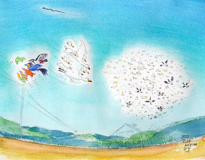 「夢」スケッチ:夏の大空にたっくさんの鳥鳥鳥♪