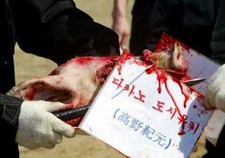 韓国 抗議デモ 豚を殺す