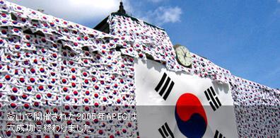韓国 エンコリ トップ絵 太極旗に覆われたソウル市庁舎