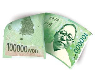 韓国 10万ウォン札 金九 大東輿地図 独島