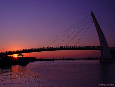 台湾 台北県 淡水情人橋