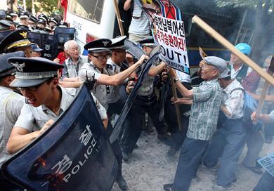 韓国 反核反キムデモ
