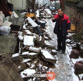 韓国 崩壊したブロック塀